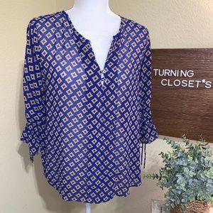 Women's Blue Diamond Sheer Umgee Blouse Medium